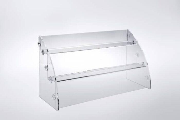 Espositore per prodotti da banco a 2 piani in plexiglass