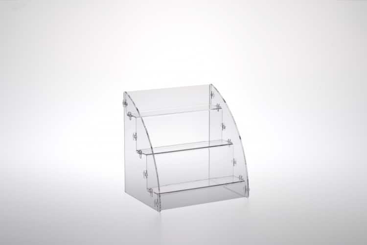Espositore prodotti da banco a 3 piani in plexiglass