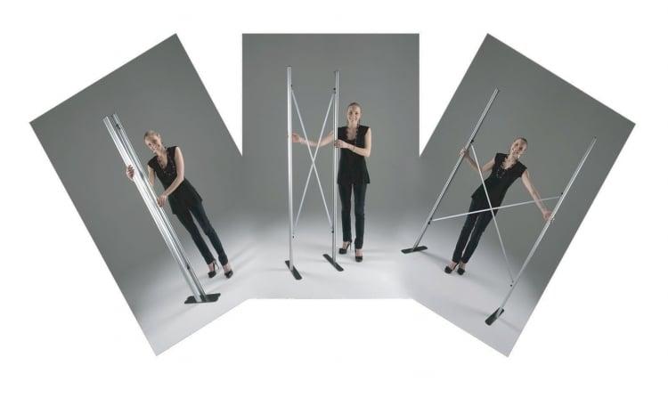 Struttura totem estendibile da 40 a 120 cm per totem pubblicitario_fasi
