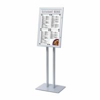 Porta menu esterno per 4 fogli A4 con porta logo silver