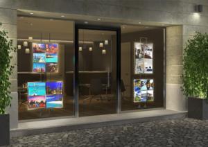 Espositore a led per vetrine agenzie immobiliari
