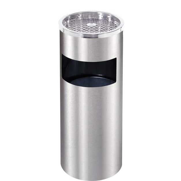 Cestino con posacenere a griglia da esterno silver