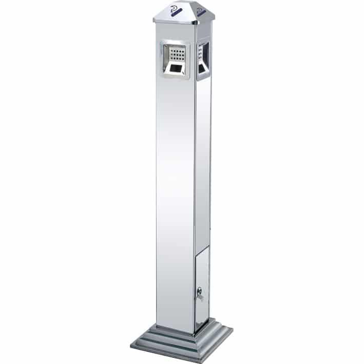 Posacenere a colonna da esterno rettangolare silver o nero