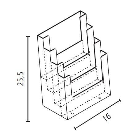 Portadepliant da banco 4 tasche A5 in plexiglass_misure