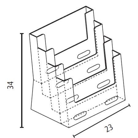Porta Depliant da banco 4 tasche A4 in plexiglass_misure