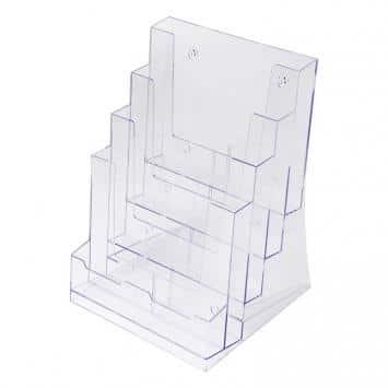 Porta depliant economico 4 tasche A4 banco-parete