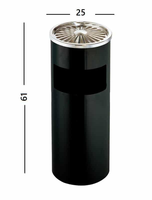 Dettaglio misure cestino posacenere