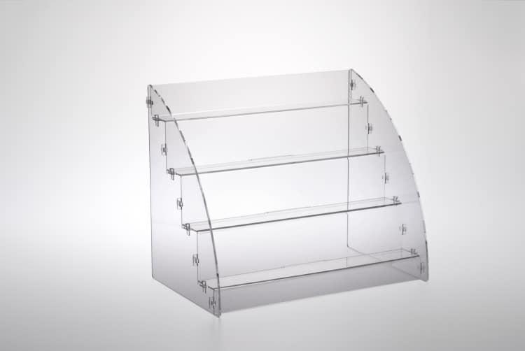 Espositore per prodotti da banco a 4 piani in plexiglass