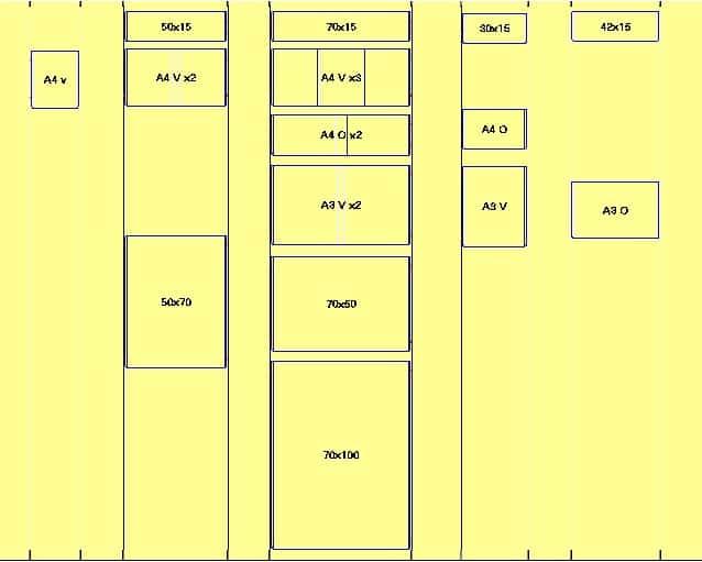 Kit cavetti vetrina: formati disponibili